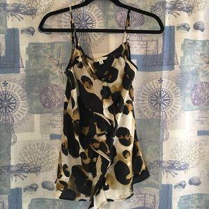 CAbi Adorable Flutter Leopard Print Sleeveless Top